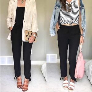 Dressy joggers with tie detail on the ankle